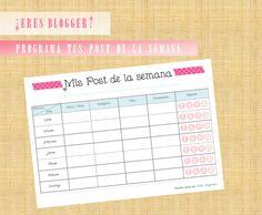 ¿Eres Blogger? Calendario semanal para organizar los post de tu blog. Descárgalo GRATIS!!