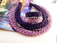 Купить Колье-коса и браслет - фиолетовый, колье-коса, браслет, жемчуг Сваровски, удобный