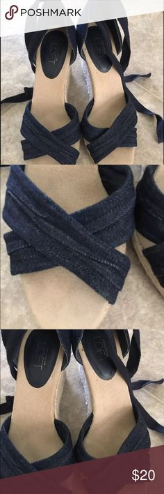 Anne Taylor LOFT denim espadrilles Only worn a few times. Size 7. Has the usual wear from being worn a few times and tried to show in pictures. Lace up tie. Any questions ask. Anne Taylor Shoes Espadrilles