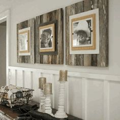 Wood behind framed pics. Idea for our huge blank wall.
