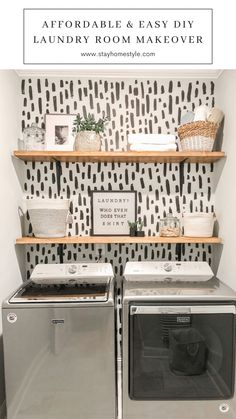 Laundry Room Shelves, Laundry Room Remodel, Small Laundry Rooms, Laundry Room Organization, Laundry In Bathroom, Laundry Room Makeovers, Garage Laundry, Laundry Room Wall Decor, Laundry Closet