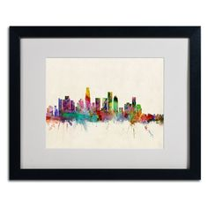 Los Angeles California by Michael Tompsett Matted Framed Painting Print