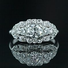 Vintage Granat Brothers Diamond Engagement Ring Main View