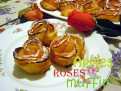 A simple quick and good looking dessert that will fill your family and guests of joy for its taste and its cuteness. Muffin Recipes, Apples, Roses, Breakfast, Desserts, Food, Morning Coffee, Tailgate Desserts, Deserts