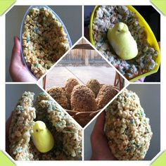 """Large Rice Crispy Egg with a """"chick"""" inside! 1) make rice crispy recipe (I chose a birthday cake recipe I found in Pinterest of course, it added flavor and color!) 2) add rice crispy to large egg mold to creat 2 halves of the egg 3) add a peep to one half 4) take other half and squeeze them together to create a large egg! Add to a basket for a dessert display for your Easter table :)"""