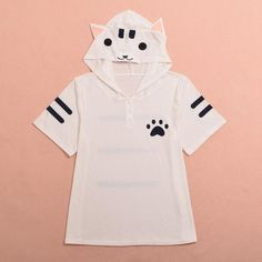 T-Shirt with Cat Hood   -   Shop all things cute at www.CuteFTW.com