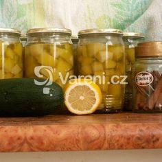 Fotografie receptu: Cuketový kompot Pickles, Cucumber, Favorite Recipes, Russian Recipes, Canning, Polish, Food, Enamel, Meal