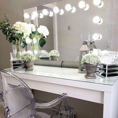 Apr 2020 - Dressing room goals from featuring our Nicole Hollywood Mirror.✨ Makeup Mirror with Lights Dressing Table Decor, Dressing Table Mirror, Dressing Room Design, Dressing Table With Mirror And Lights, Ikea Dressing Room, Dressing Tables, Lights Around Mirror, Makeup Mirror With Lights, Ikea Mirror Lights