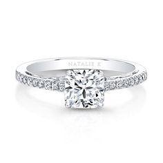 18K White Gold Bezel-set Diamond Gallery Engagement Ring - 18K White Gold Bezel-set Diamond Gallery Engagement Ring