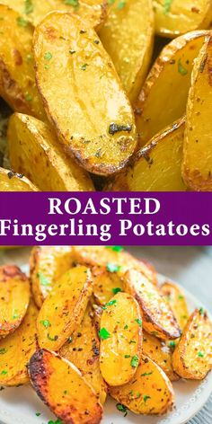 I love these Fingerling Potatoes so much that I want to eat them every day! Potato Dishes, Food Dishes, Side Dishes, Vegetarian Recipes, Cooking Recipes, Healthy Recipes, Tasty Meal, Roasted Fingerling Potatoes, Fingerling Potato Recipes