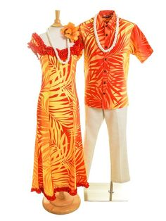 [Exclusive]Nahenahe Ruffle Long Dress [Ginger / Yellow & Red] - Stage Costumes - Hula Supply | AlohaOutlet SelectShop