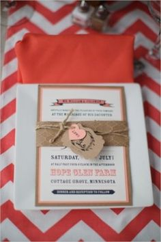Vintage Ideas: Invites for a vintage barn wedding at Hope Glen Farm From Wedding Chicks Photography by Dani Stephenson Photography  #chevron #rustic