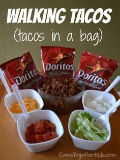 Personalized taco salads using fun size doritos -- really awesome camping idea, . - Personalized taco salads using fun size doritos — really awesome camping idea, make toppings ahea - Frugal Meals, Camping Meals, Kids Meals, Easy Meals, Camping Tips, Family Camping, Outdoor Camping, Camping Stuff, Camping Dishes