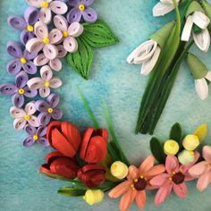 Панно в технике квиллинг, quilling . Весенние цветы: тюльпаны, нарциссы, подснежники, сирень.