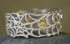 Cathy Waterman, accessories, jewelry, rings, gems, spiderweb with gold spider