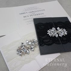 Elegant Gatefold Lace And Brooch Wedding Invitation Created By Eternal Stationery Eternalstationery