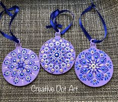 Creative Dot Art, Painted Wooden Ornaments, Set of 3 Wooden Christmas Ornaments, Painted Ornaments, Christmas Wood, Christmas Crafts, Christmas Decorations, Xmas, Dot Art Painting, Mandala Painting, Stone Painting