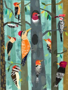 Oopsy Daisy Birds of a feather flock together in this cool forest canvas art for kids by Amy Schimler-Safford. These Woodpeckers are bright and beautiful, and would love to decorate your child's walls with color and fun! Childrens Wall Art, Kunst Poster, Forest Art, Baby Wall Art, Bird Art, Art Lessons, Fisher, Canvas Wall Art, Art For Kids