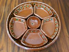 Vintage TLAQUEPAQUE MEXICAN Pottery Tray/ Appetizer Tray, Handmade and Hand-painted Famous Dotted Style