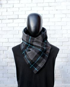 Mens cowl scarf. Unisex scarf. Unisex cowl,Wide, Plaid wool blend and metalic snaps . Chunky,cozy. Blanket scarf. Mens winter. Husband gift. by CheriDemeter on Etsy https://www.etsy.com/listing/477983403/mens-cowl-scarf-unisex-scarf-unisex