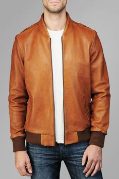 Leather Bomber Jacket In Cognac Leather | 7 For All Mankind.... if I saw him in this..ummmm