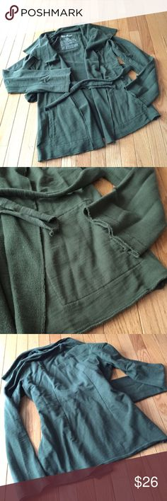 """Lucky open cardigan draped shrug Sz S Cozy and stylish layering piece with rolled hems. Attached waist tie gives a feminine silhouette. Approx. 25"""" long. Smoke free. m Lucky Brand Tops"""