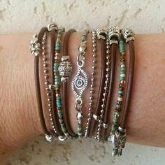 Silver Evil Eye Bracelet Boho Leather Wrap by DesignsbyNoa on Etsy