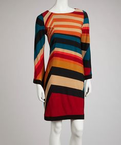 $22. Take a look at this Rust & Blue Mod Stripe Dress by Emma & Michele on #zulily today!