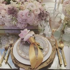 When in doubt, go for the gold! Gilded table accents offer a seriously elegant and sleek element of interest to an already romantic tablescape! WedLuxe Magazine