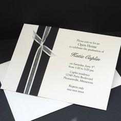 free printable graduation open house invites | Black With White Ribbon, open house invitations | CarlinCardCreations ...