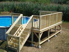 Best Swimming Pool Deck Ideas Above Ground ~ cubtab Above Ground Pool Landscaping, Above Ground Pool Decks, Backyard Pool Landscaping, In Ground Pools, Patio Plan, Pool Deck Plans, Pool Deck Gate Ideas, Decks Around Pools, Pool Steps