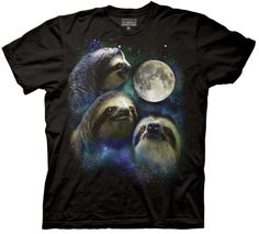 Three Wolf Moon Shirt Parody - Three Sloth Moon Shirt - 100% Cotton Adult T-Shirt Tee, Black, Medium