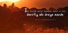 Ik strek mijn handen naar U uit, dorstig als droge aarde. Psalm 143:6