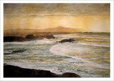 Acuarela de una marina del mar Cantábrico al atardecer desde unos acantilados. Cuadro realizado por el artista Rubén de Luis. Más detalles