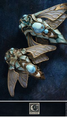 Art Nouveau fly jewelry SIMPLY STUNNING! (I absolutely love 'bug' jewellery! ;) soo pretty!) 💞