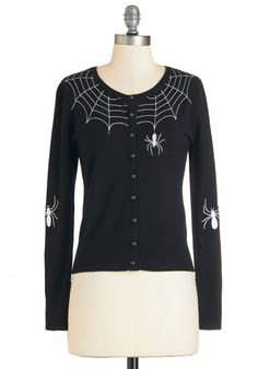 Itsy Bitsy Rider Cardigan. Wherever you mingle in this black cardigan, you take its embroidered spiders along for the ride! #black #modcloth