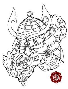 Japanese Samurai Warrior Mask  Samurai coloring pages coloring