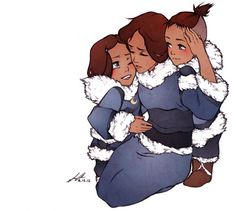 Little water benders with their mom. / False, sokka isn't a waterbender. Really adorable though!
