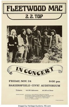 Vintage Music Art  - Fleetwood Mac & Z.Z. Top At Bakersfield Civic Auditorium   0822