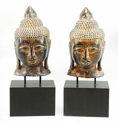 A Pair of Gilt Plaster Buddha Heads. Lot 164-1137