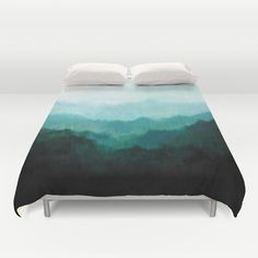 Duvet cover. Original painting on canvas 18 x 24.  Mists, Mountains, Trees, Ombre, Nature, Natural, Green, Oregon.