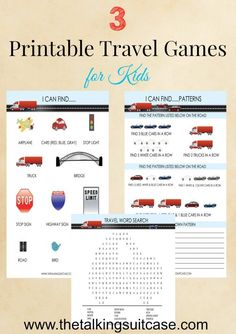 My kids love playing games on road trips.  I have 3 colorful and fun printable travel games for kids.  The best part?  They are FREE!