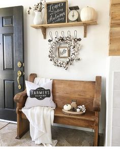 """Kendra Farmer on Instagram: """"Hope your Sunday is filled with rest, Jesus, and football. I can't get over this perfect little church pew!! Farmers market pillow can be…"""""""