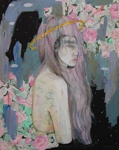 Kai Fine Art is an art website, shows painting and illustration works all over the world. Os Wallpaper, Burning House, Rose Vines, Collage Background, Woman Drawing, Figurative Art, Amazing Art, Modern Art, Watercolor