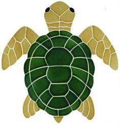 "Medium Natural Turtle Top View Mosaic 16""x15"""