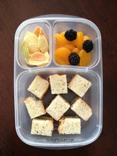 SunButter and jelly sandwich bites on gluten free bread. SunButter is nut free, gluten free, vegan, kosher, egg free, and dairy free. Also packed in her EasyLunchboxes container are veggie chips, mandarin oranges, and blackberries.