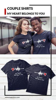 Funny Couple Shirts, Couple Tees, Couple Tshirts, Funny Couples, Couple Gifts, Matching Couple Outfits, Matching Couples, Matching Pjs, Valentines Day Funny