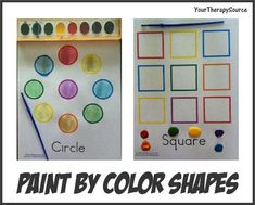 Paint Shapes By Color-Free Printables from Your Therapy Source. Visual Motor Activities, Color Activities, Sensory Activities, Learning Colors, Kids Learning, Preschool Colors, Preschool Ideas, Learning Support, Special Kids