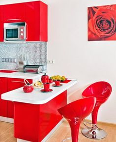 #LGLimitlessDesign #Contest red kitchen, red and black for camper. fun stools too...