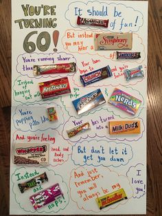 60th Birthday Quotes, 60th Birthday Gifts For Men, Homemade Birthday Gifts, 60 Birthday, Birthday Gift Baskets, Dad Birthday Card, Birthday Board, Birthday Ideas, Birthday Candy Grams